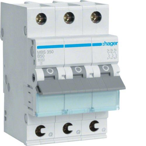 Preisvergleich Produktbild Hager MBS350 LS-Schalter 3P 6kA B-50A QC Quick Connect 1M
