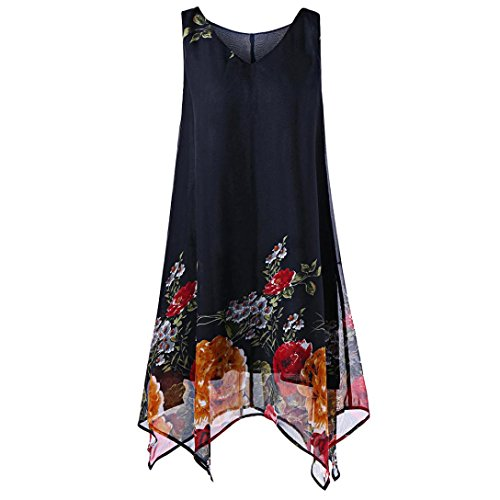 Womens Girls Dresses -Summer Long Tops Plus Size Lady Casual Floral Sleeveless Chiffon Tunic Irregular Hem Mini Dress for Beach Party