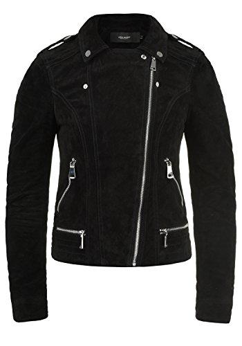 Vero Moda Leda Chaqueta De Cuero Cazadora de Piel para Mujer Piel Real con Cuello Biker, tamaño:M, Color:Black