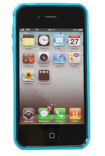 Luxburg® Elegante gepolsterte Pull Tab Stoff Schutzhülle Tasche Case für Apple iPhone 4 / 4S /4G - Grün Diamant - Hellblau