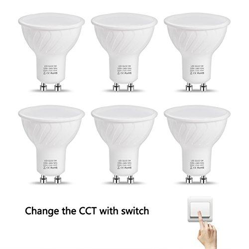 Licht Steuern Kurze (LOHAS® 5W GU10 LED Lampe, 3-in-1 dimmen ohne dimmer, Ersatz für 50W Halogenlampen, 500LM, 6000K-2700K-4000K, LED Leuchtmittel, 6er-Pack)