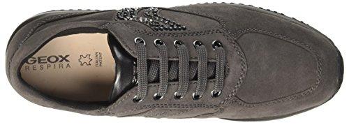 Geox Damen D Happy C Sneaker Grau (Dk Grey)