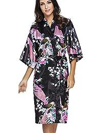 OLIPHEE Lange Kimonos für Damen Bademantel aus Satin mit Pfau und Blüten Morgenmantel Robe