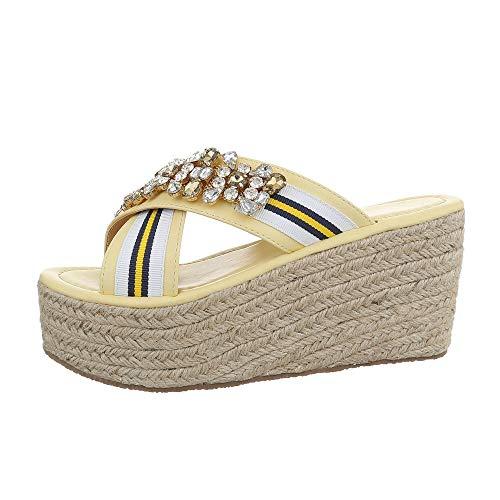 Ital-Design Damenschuhe Sandalen & Sandaletten Pantoletten Synthetik Gelb Multi Gr. 37 (Gelbe Weiße Hochzeit Und)