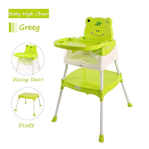 Vxcbndtjd Klapptisch Baby-kompakter faltender Hochstuhl-Reisesitz, tragbares justierbares Kinderkindler, das Stuhl mit Mahlzeitplatte speist, verwendbar für Kind 0-4 Jahre alt, gelb (Farbe : Green)