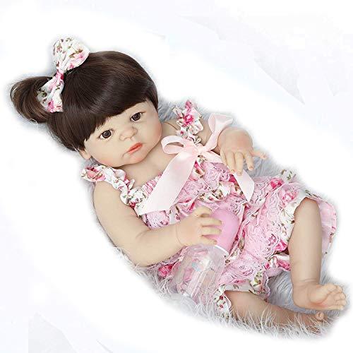 Nicery Reborn Puppe, 55 cm, hartes Silikon, für Kindergeburtstage, schöne Blumen, A3UK