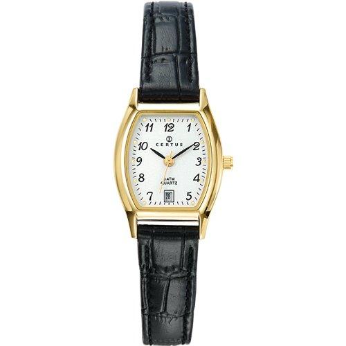 Certus 646502 - Reloj analógico de cuarzo para mujer con correa de piel, color negro