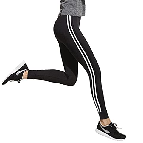 Wgwioo Women High Waist Skinny Leggings Patchwork Short De Yoga Pantalons Sports Athletic Workout Collants De Gym / Pack De 2 / . Black . S