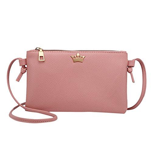 Frauen Krone Abendtasche Retro Handtasche Umhängetasche Damen Mädchen Crossbody Schultertasche Leder Messenger Tasche (Rosa)