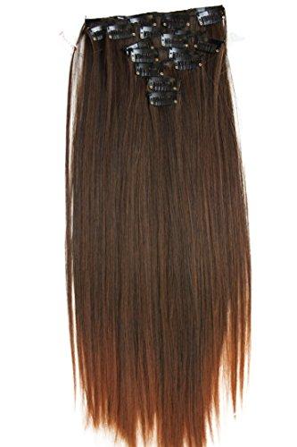 PRETTYSHOP XXL 50cm 8 teiliges SET Clip In Extensions Haarverlängerung Haarteil hitzebeständig glatt braun mix 2T30 CES116 (Haar-extensions-36)