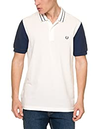 Fred Perry Men's Textured Colour Block Men's Blue Polo Shirt 100% Cotton