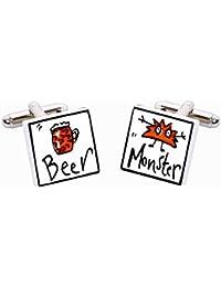 Beer Monster Cufflinks by Sonia Spencer, in Presentation Gift Box. Lager