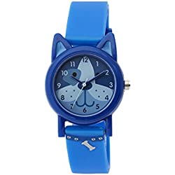 Tikkers Unisex Quartz Watch with Blue Dial Analogue Display and Blue Silicone Strap TK0089