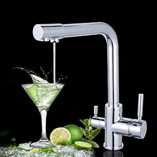 Küchenarmatur Luxus Chrom Messing reines Wasser Küchenarmatur Doppelgriff heißes und kaltes Trinkwasser 3-Wege-Filter Küchenmischbatterien -