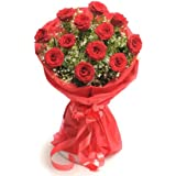 Floralbay Red Roses Bouquet Fresh Flowers in Paper Wrapping (Bunch of 12)