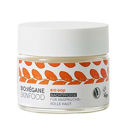 Bio: Végane Skinfood Bio Goji-Notte Cura per i lavori della pelle, vegan, natrue di Tex, Anti Aging, cosmetico naturale con olio di Argan, 1er Pack (1X 50ML)