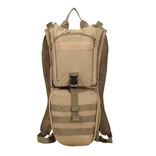 Dexinx Hydrationspack Fahrradrucksack mit 3L Trinkblase Laufrucksack Wanderrucksack Wasserrucksack Hochwertige Wasserreservoir Khaki 21 * 6 * 49cm