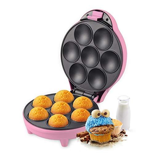 Aigostar Popcaker Pink 30CEU - Máquina para hacer popcakes, cupcakes y magdalenas, 700 W de potencia, capacidad 7 huecos, placas antiadherentes. Color rosa. Diseño exclusivo.