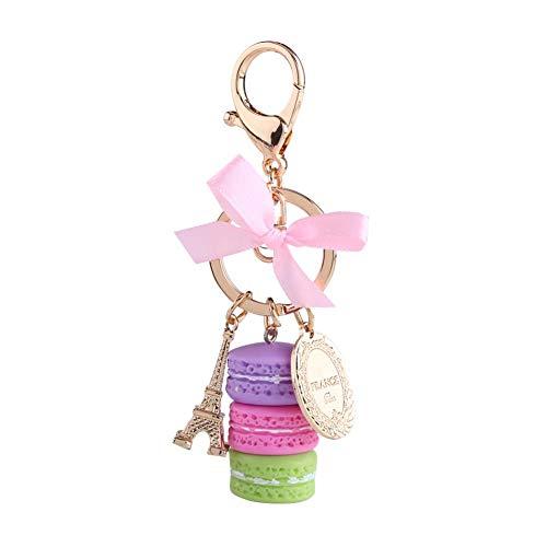 Macaroon Eiffelturm Schlüssel Ringe Schlüsselbund Tasche Anhänger Bunte Gold Metall(Purple) ()