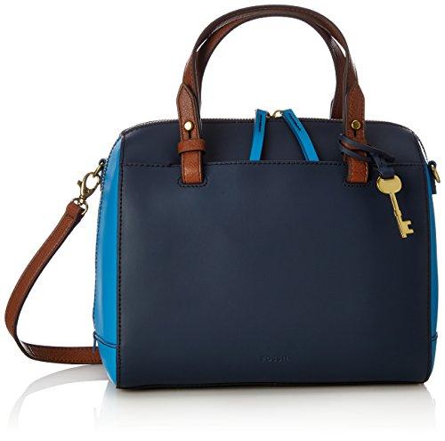 Fossil Damen Damentasche– Rachel Satchel Tornistertasche, Blau (Cerulean), 14.61x20.32x25.4 cm