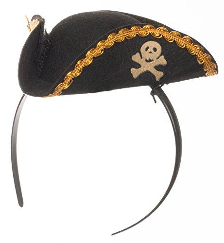 Brandsseller - Mini Piraten Hut Haarreif Damen Ansteckhut Kopfbedeckung - Karneval Fashing Kostüm (Damen Hüte Piraten)