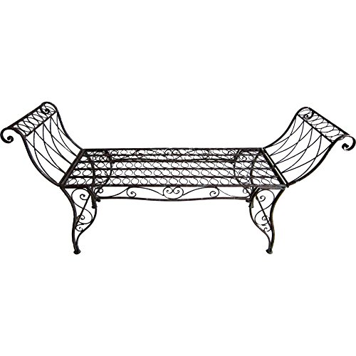 nxtbuy Gartenbank SEMERU aus Eisen in Edelrost-Optik 2-Sitzer mit geschwungenen Armlehnen und romantischen Ornamenten