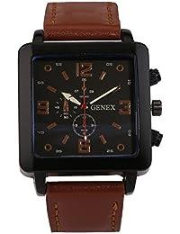 Genex Quartz Analog Black Dial Leather Strap Mens Watch-GNX-9003