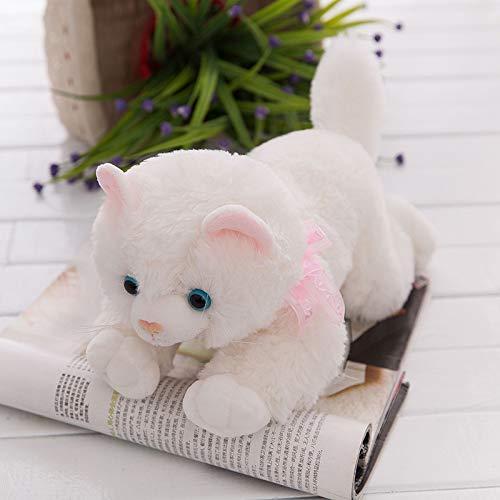 Romantique Sweet Chat en Peluche en Peluche Festive Cadeaux de poupée en Peluche Taie d'oreiller, Blanc, 35 cm