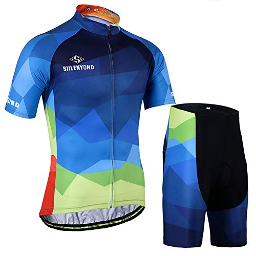 Men's Cycling Jersey Set,Short Sleeve Full Zip Moisture Wicking Breathable Quick-Dry,Bike Shirt + 3D Padded Shorts (Uniform-bike Giant)