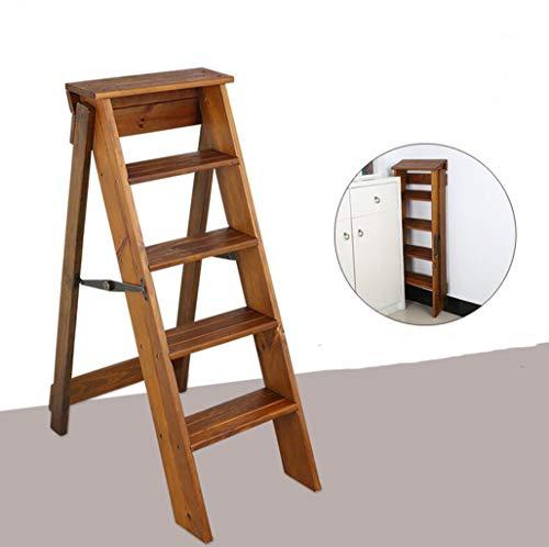 MYYDD Massivholz Klappbare Dual-Use-Leiterrahmen Indoor-Fünfgeschichten-Leiterstuhl Multifunktionäre Treppe Hocker Pine Handy Stühle Leiter Blumenregal (Hoch 88Cm)