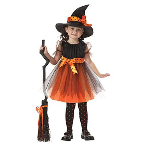 Halloween-Kleid, Kleinkind Mädchen Hexe Cosplay Kostüm Kinder kurzärmliges Kleid mit gepunktetem Band Spitzmütze für Halloween Märchen Party Requisiten 90 (Märchen Kostüm Für Kleinkind Mädchen)