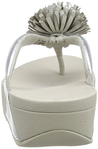 FitFlop Damen Flowerball Leather Toe-Post Sandalen mit Absatz, Weiß, 35 EU M Silberfarben