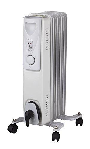 Daewoo Blanc Radiateur à bain d'huile Électrique Portable. 1000W. 3 niveaux de puissance et thermostat réglable. Couleur blanc. Design exclusif.