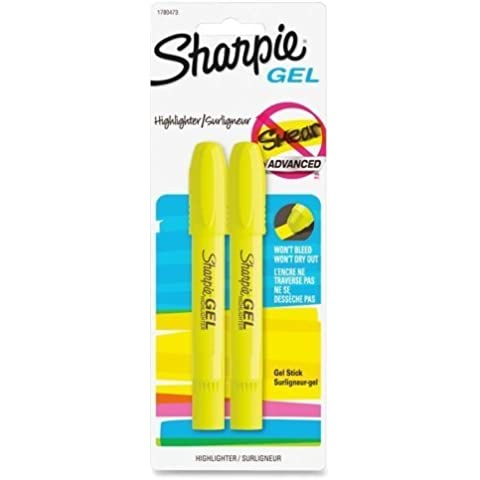 Wholesale CASE of 25 - Sanford Sharpie Yellow Accent Gel Highlighters-Gel Highlighter, Smear Block, 2/PK, Fluorescent Yellow by