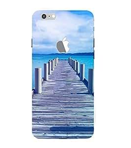 FUSON Wood Bridge At Sea 3D Hard Polycarbonate Designer Back Case Cover for Apple iPhone 7 Plus (Logo View Window Case)