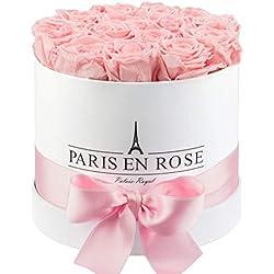 "PARIS EN ROSE Rosenbox ""Palais-Royal"" | weiße Flowerbox mit rosa Infinity Rosen | ca. 15 konservierte Blumen"