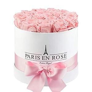 "PARIS EN ROSE Rosenbox ""Palais-Royal""   weiße Flowerbox mit rosa Infinity Rosen   ca. 15 konservierte Blumen"