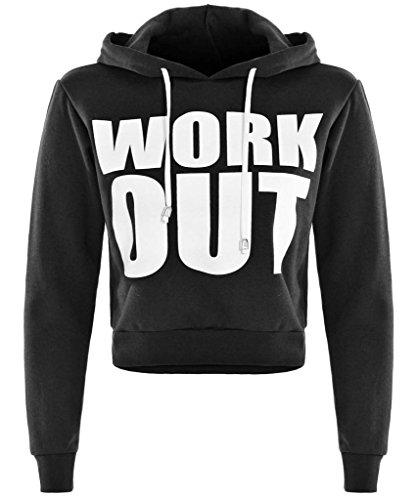 Damen Work Out bedruckt Crop Hoody Top Swearshirt Jogger Hose Trous Trainingsanzug Hoody Top-Black