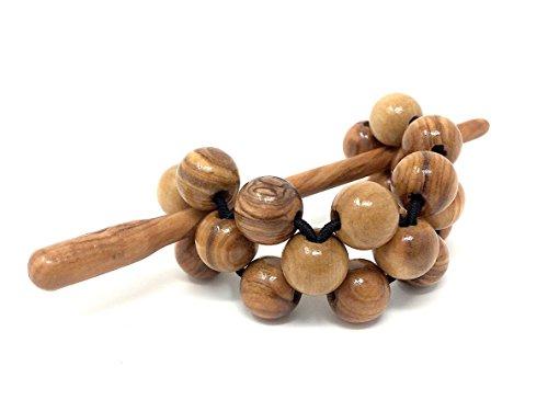 Haarspange mit Perlen aus echten Olivenholz (12mm) - handgemacht - Holzschmuck - Schmuck aus...