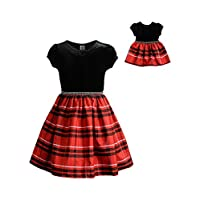 فستان بناتي من دوللي آند مي بأكمام قصيرة ومنسوج بنقوش مربعات مع زي دمية مطابق للدمى، متعدد الألوان، مقاس 14