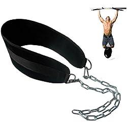 hemeraphit pull-up cinturón con peso DIP cinturón con cadena doble D-Ring levantamiento de pesas espalda apoyo correa gimnasio en casa equipo cintura cinturón