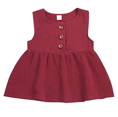KIMODO Kleinkind Baby Mädchen Kleid Einfarbig Ärmellos Kleider Freizeit Urlaub Prinzessin Sommerkleid Outfit Kleidung