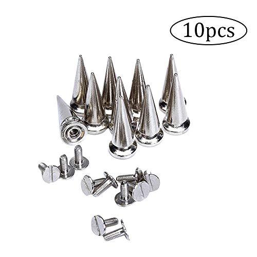 lujiaoshout 10 Sätze 25mm Silber Farbe Kugel-Kegel-Spitzen-Bolzen und Nieten aus Metall Schraube wieder Ohrstecker für DIY-Leder-Handwerk - Wieder Leder