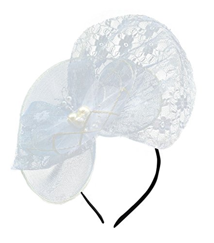 Damen Fascinator Haarclip Stirnband Spitze Schleier Hochzeit Headwear Braut Kopfschmuck (St George's Day Kostüme)