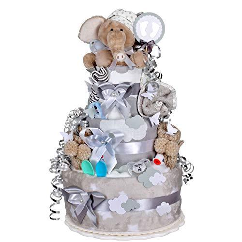 MomsStory - Tarta de pañales, niño o elefante, regalo para nacimiento, bautizo, baby shower, 3 pisos...
