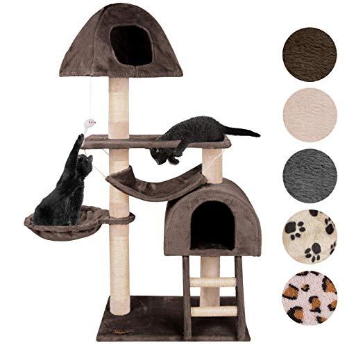 Happypet® Kratzbaum für Katzen mittelgroß CAT018-4 130 cm hoch, Kletterbaum Katzenbaum, stabile Säulen mit Sisal ca. 8 cm, Liegemulde, Haus, Höhle, Treppe, Hängematte, Spielmaus, BRAUN