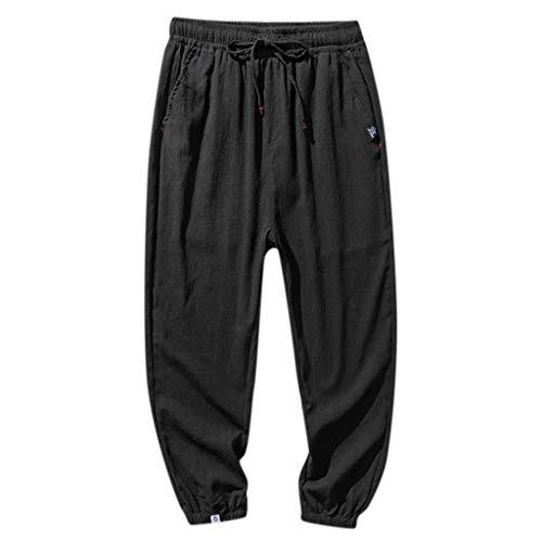 SO-buts Fashion Men Einfarbig Gestreifte Baumwolle Leinen Lange Hosen Freizeithose, Herren und Hong Kong Japanisch Neun Reine Farbe(Schwarz,XXXL) -