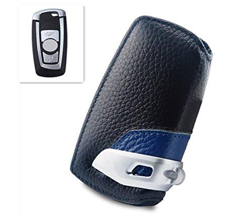 Preisvergleich Produktbild Happyit Auto echtes Leder Smart Key Cover Fall für BMW F10 F20 F30 NEU 1 2 3 4 5 6 7 Serie X3 X4 320I 116I 118I 328I 530I Fernbedienung Zubehör (Blau)