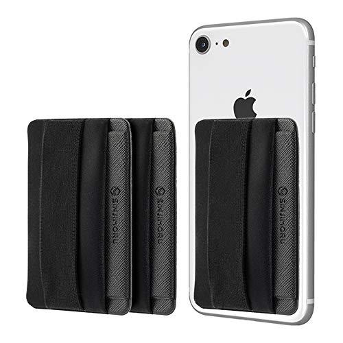 Sinjimoru Smartphone Kartenhalter mit Handygriff, Handy Halterung Finger mit Kartenfach für iPhone und Android. Sinji Pouch B-Flap, Schwarz [3Pack]. (Samsung Otter Galaxy Mini Box 4s)