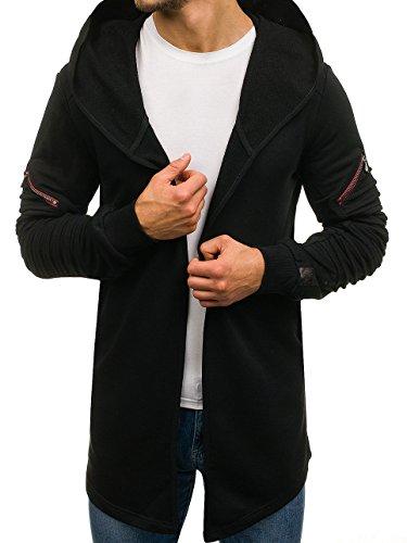 BOLF Herren Kapuzenpullover Sweatjacke mit Kapuze Sweatshirt Pullover Hoodie Lang Mix 1A1 Schwarz_171503
